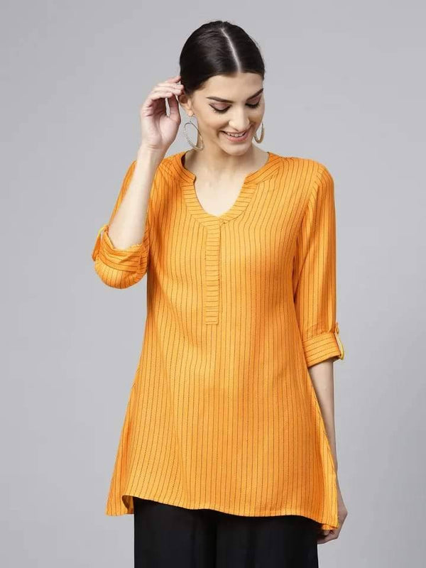 Admirable Orange Colored Cotton Short Kurti