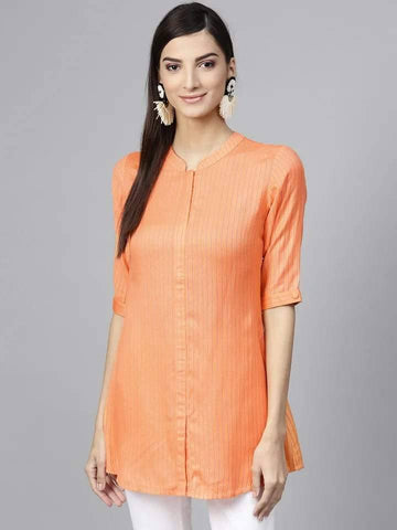Stylish Beige Colored Cotton Short Kurti