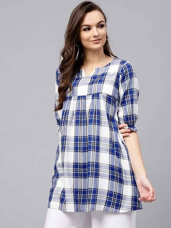 Contrasting White And Black Colored Cotton Short Kurti