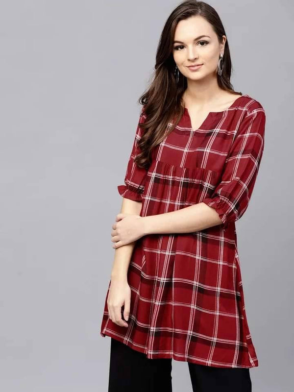 Adorable Maroon Colored Cotton Short Kurti