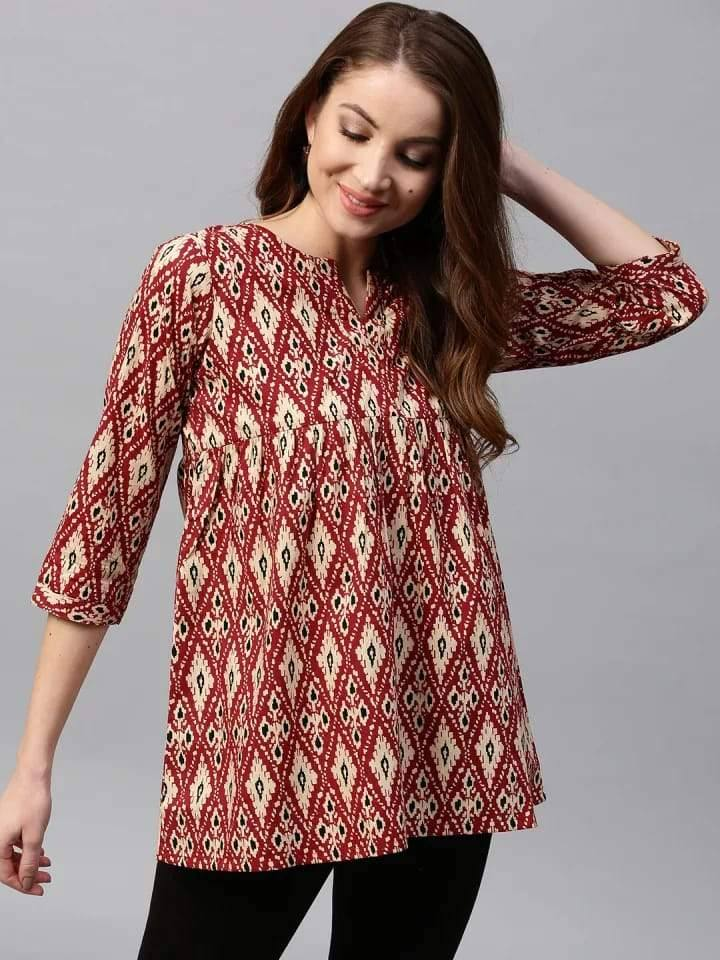 Admirable Maroon Colored Cotton Short Kurti