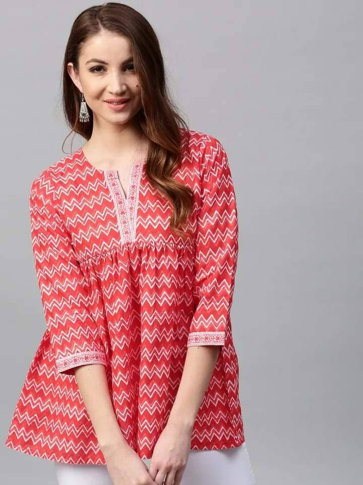 Sensational Pink Colored Cotton Short Kurti