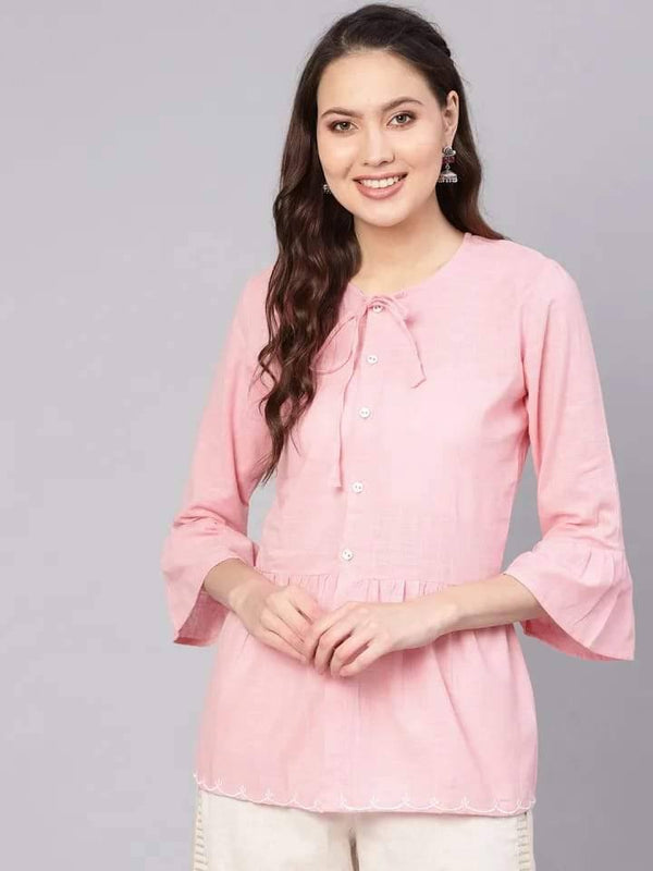 Incredible Pink Colored Cotton Short Kurti