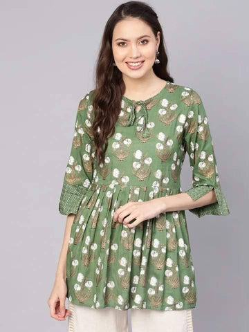 Marvelous Olive Green Colored Cotton Short Kurti