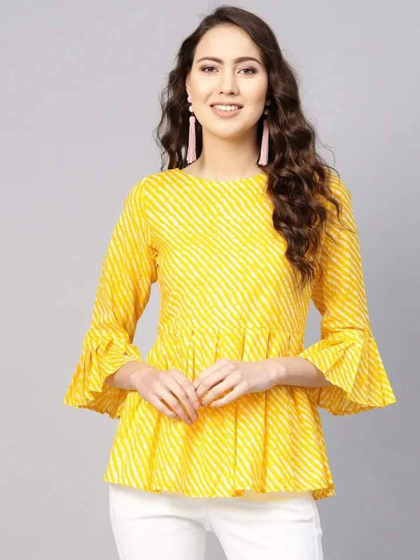 Phenomenal Yellow Colored Cotton Short Kurti
