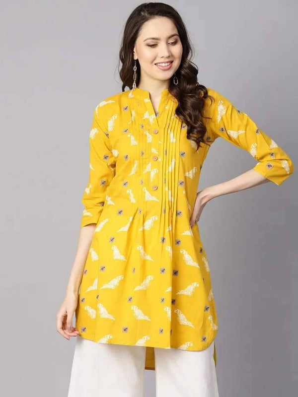 Pleasant Yellow Colored Cotton Short Kurti