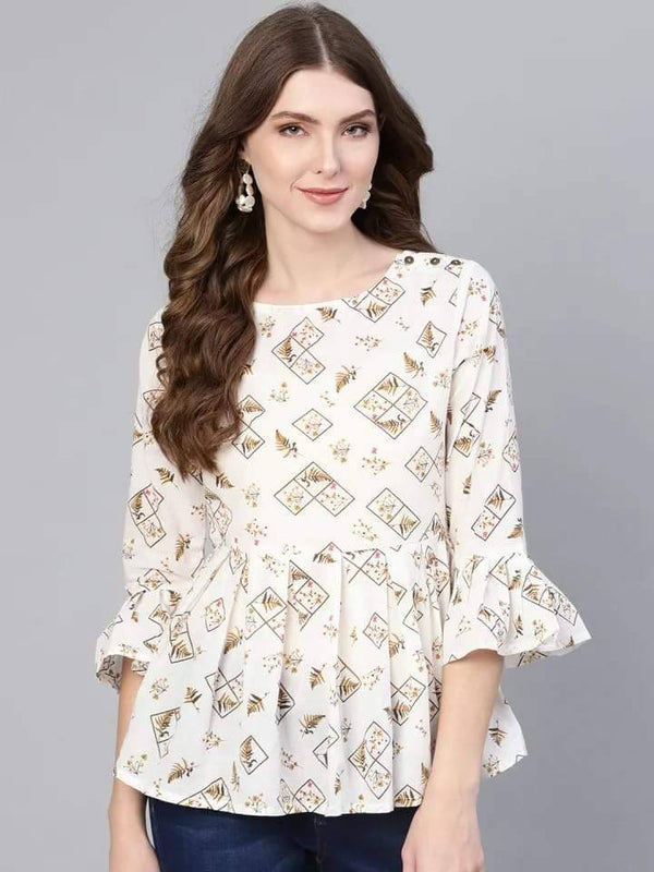 Cool White Colored Cotton Short Kurti