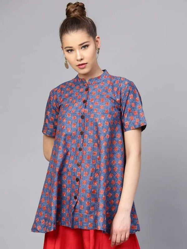 Fantastic Blue And Red Colored Cotton Short Kurti