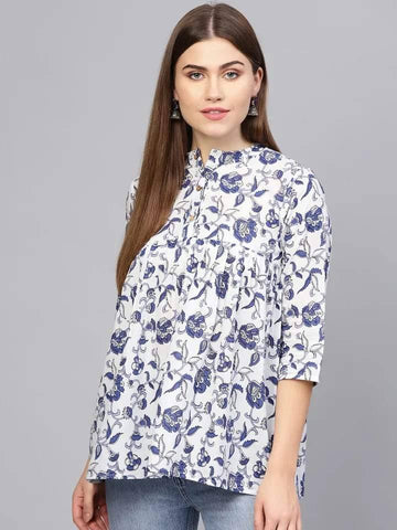 Remarkable White Colored Cotton Short Kurti