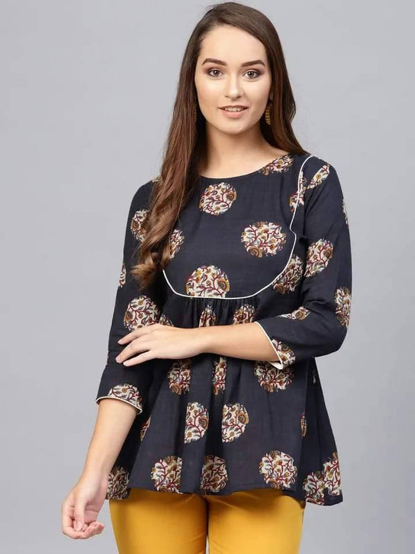 Astounding Black Colored Cotton Short Kurti