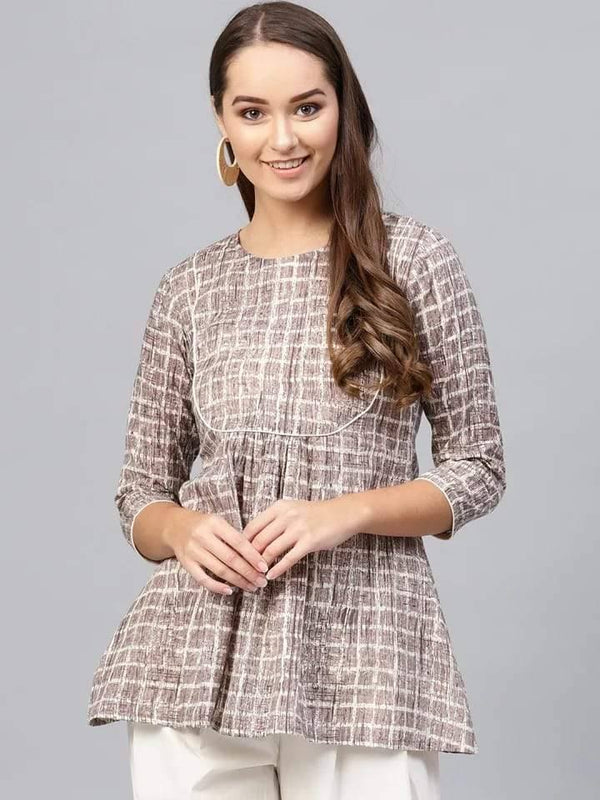 Deserving Light Brown Colored Cotton Short Kurti