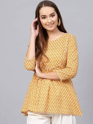 Lustrous Yellow Colored Cotton Short Kurti