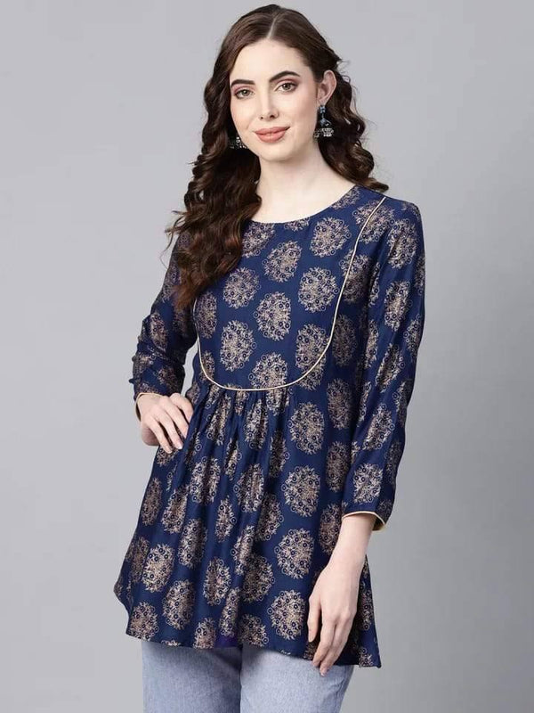 Impressive Black Colored Cotton Short Kurti
