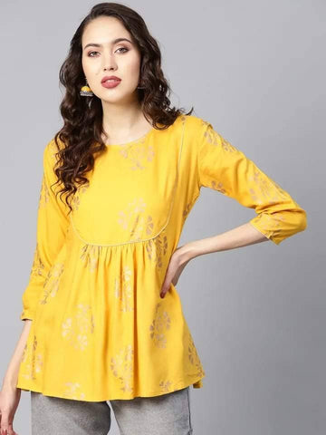 Beautiful Yellow Colored Cotton Short Kurti