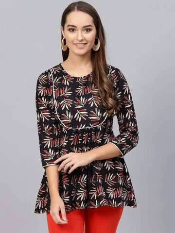 Remarkable Black Colored Cotton Short Kurti