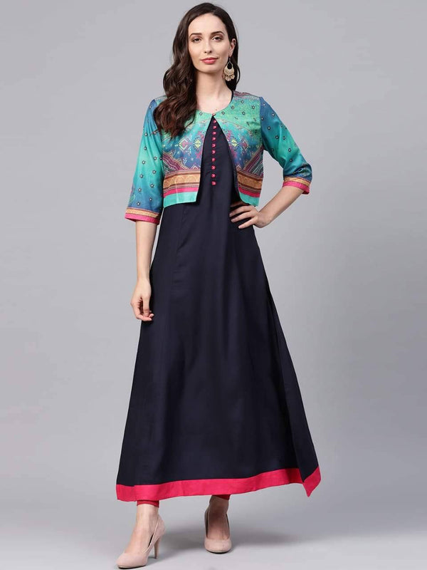 Spectacular Black Colored Cotton Kurta With Jacket