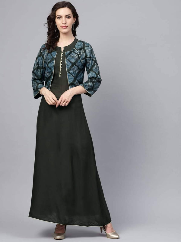 Amazing Black Colored Cotton Kurta With Jacket