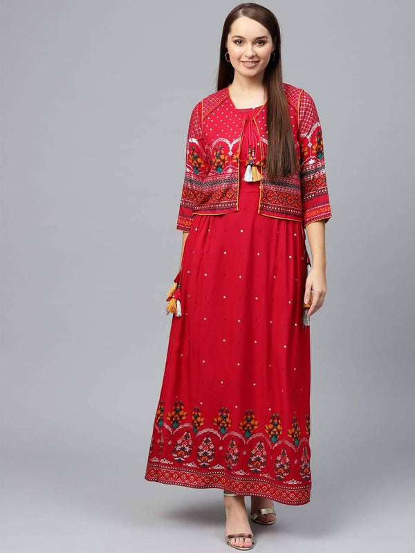 Wondrous Red Colored Cotton Kurta With Jacket