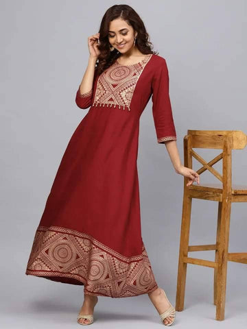 Amazing Red Colored Cotton Kurta