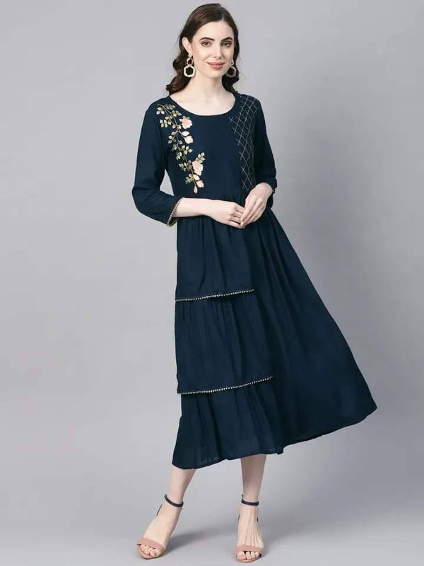 Remarkable Dark Green Colored Cotton Kurti With Zari Thread Work Embroidery