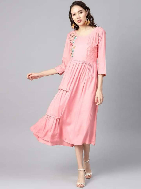 Superb Pink Colored Cotton Kurti With Zari Thread Work Embroidery