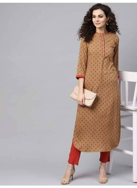 Charming Pale Red Colored Cotton Gown Kurti