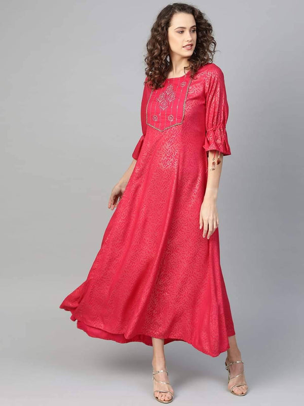 Radiant Red Colored Cotton Long Kurti