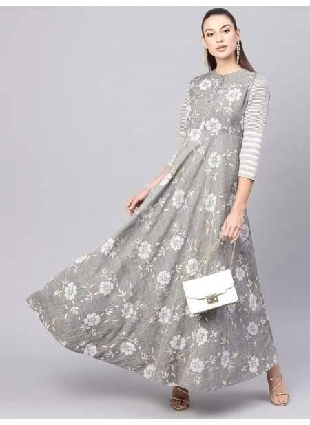 Alluring Grey Colored Cotton Long Kurti