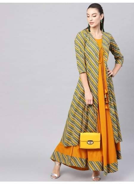 Enchanting Orange Colour Cotton Long Kurti With Green Long Jacket