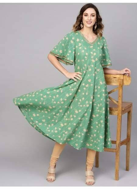 Awesome Green Colour Cotton Long Kurti