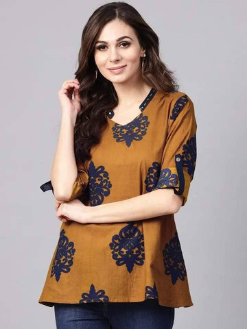 Alluring Brown Colour Cotton Short Kurti