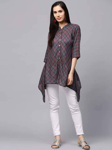 Attractive Grey And Brown Colour Cotton Short Kurti