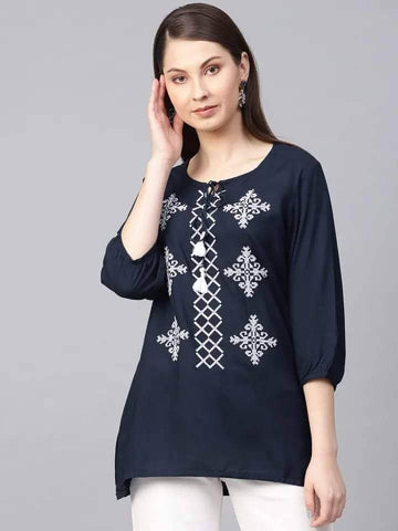 Admirable Black Colour Cotton Short Kurti