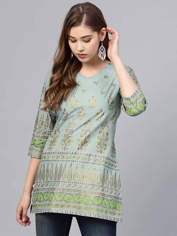 Lovely Light Green Colour Cotton Short Kurti