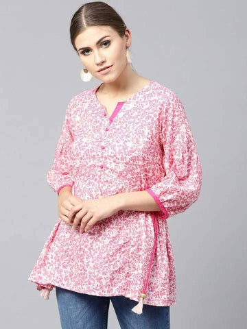 Enchanting Pink Colour Cotton Short Kurti