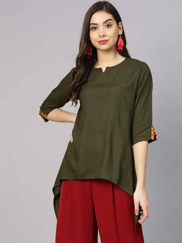 Attractive Olive Green Colour Cotton Short Kurti