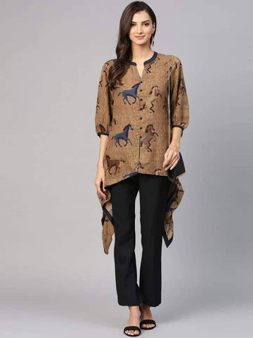 Fascinating Brown Colour Cotton Short Kurti