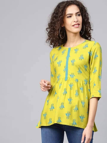 Opulent Yellow Colour Cotton Short Kurti
