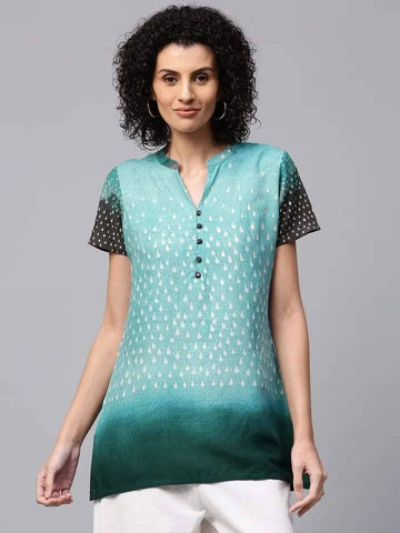 Dazzling Aqua Blue Colour Cotton Short Kurti