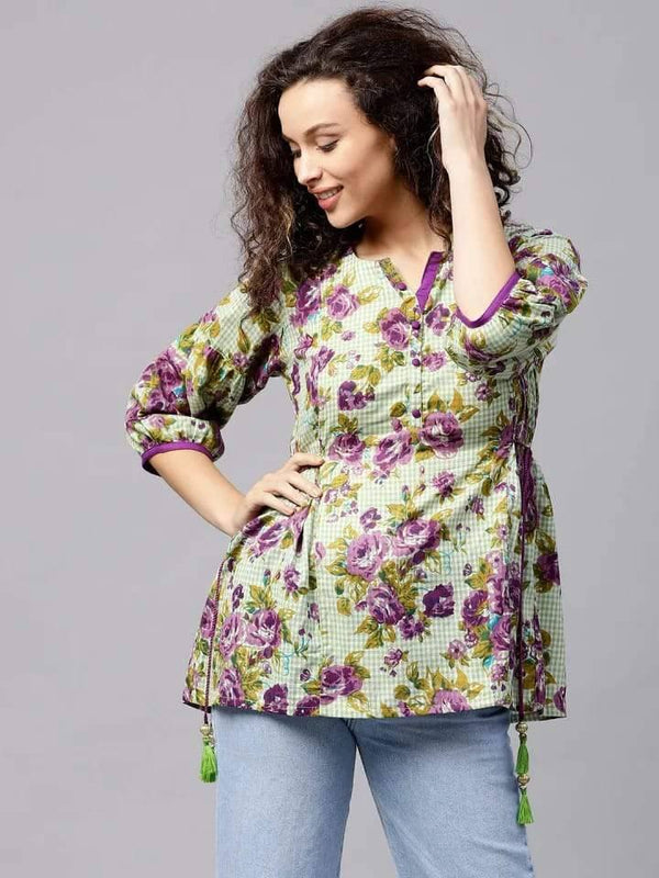 Captivating Green And Violet Muliti Colour Cotton Short Kurti