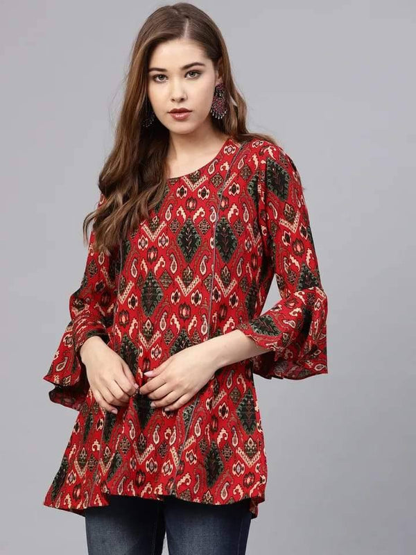 Attractive Red And Black Colour Cotton Short Kurti