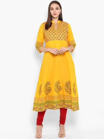 Fascinating Mustard Colour Cotton Anarkali Kurti