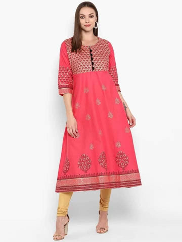 Refreshing Tomato Colour Cotton Anarkali Kurti