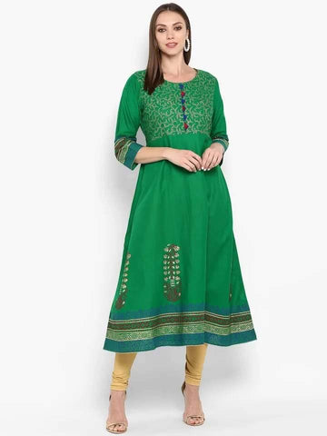Enchanting Green Colour Cotton Anarkali Kurti