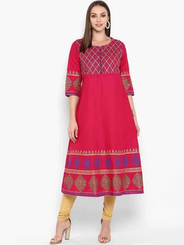 Splendid Crimson Red Colour Cotton Anarkali Kurti