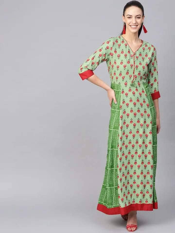 Charming Green Colour Viscose Rayon Kurti Gown
