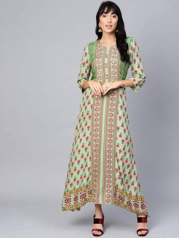 Pleasant Light Green And Red Colour Viscose Rayon Kurti Gown