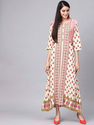 Engaging White And Red Colour Viscose Rayon Kurti Gown