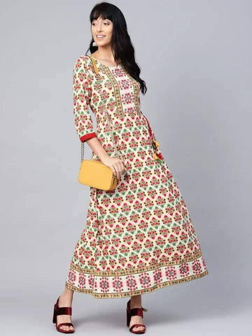 Delightful White And Red Colour Viscose Rayon Kurti Gown