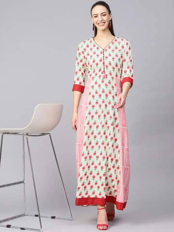 Admirable White And Pink Colour Viscose Rayon Kurti Gown